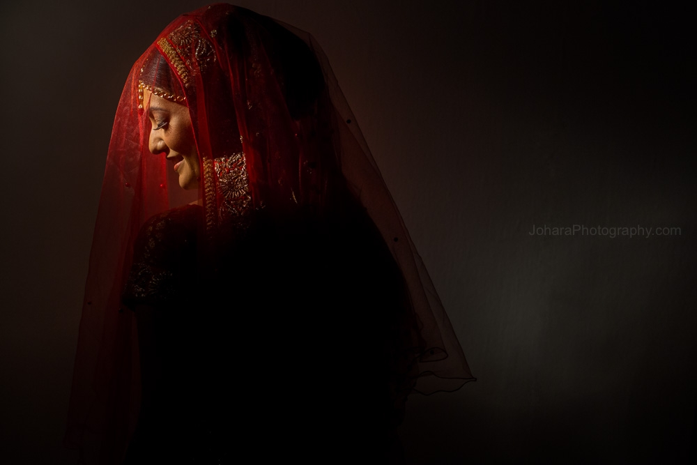 Indian bride in red veil at her Indian wedding