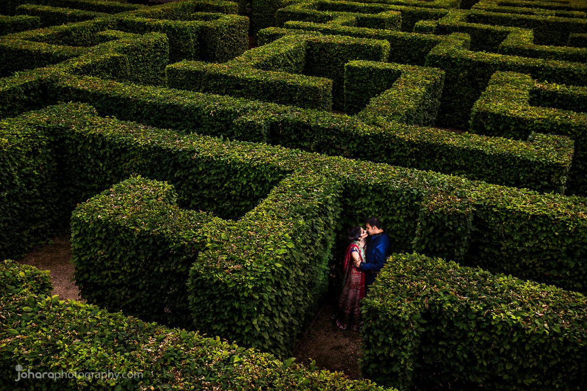 Indian couple Nivedita and Varun together in a maze at Ditton Manor